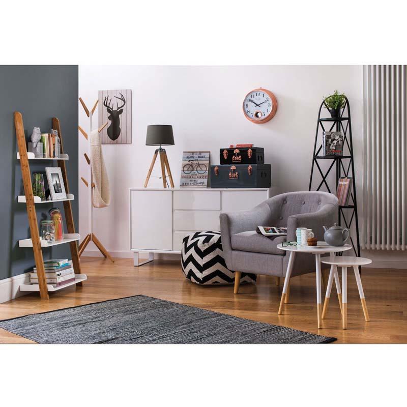Stylish Tripod Table Lamp With Grey Shade - Light Wood Base