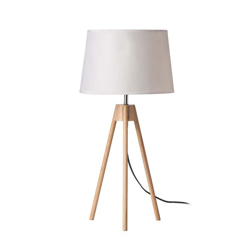 Stunning Design Tripod Light Wood Base Table Lamp White Shade