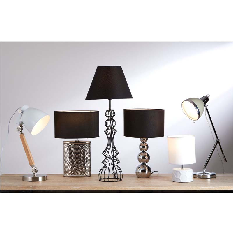 Stockholm Satin Nickel Table Lamp & Light Wood (UK Plug) With White Shade