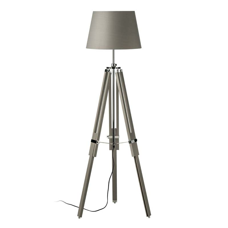 Tripod Floor Lamp, Grey Wood, Chrome