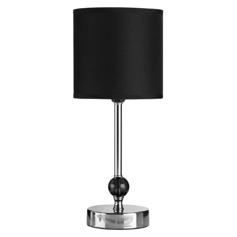 Decorative Black Shade Table Lamp Chrome Finish / Black Acrylic Ball