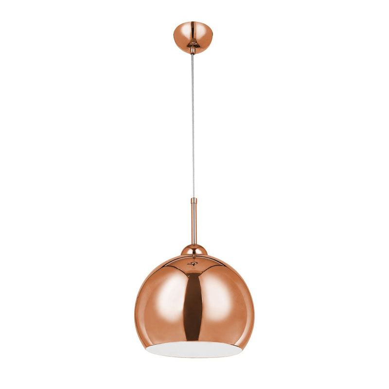 1 LED Bulb Dome Shape Copper Ceiling Pendant Light In Metal White Inside With Contemporary Style For Living Room