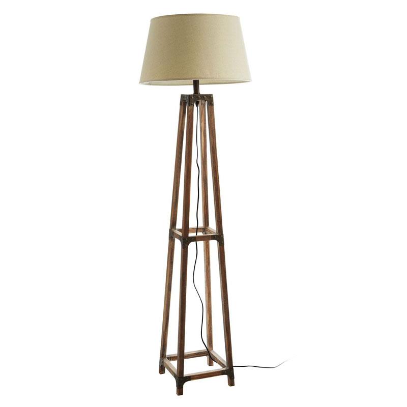 Floor Lamp, Fir Wood/Metal, Natural Shade