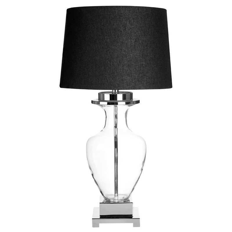 Arine Clear Glass Table Lamp With Black Linen Shade