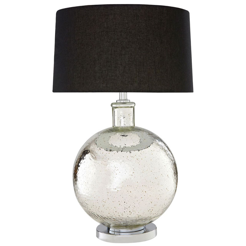 Aysel Glass/Metal Table Lamp With Black Linen Shade