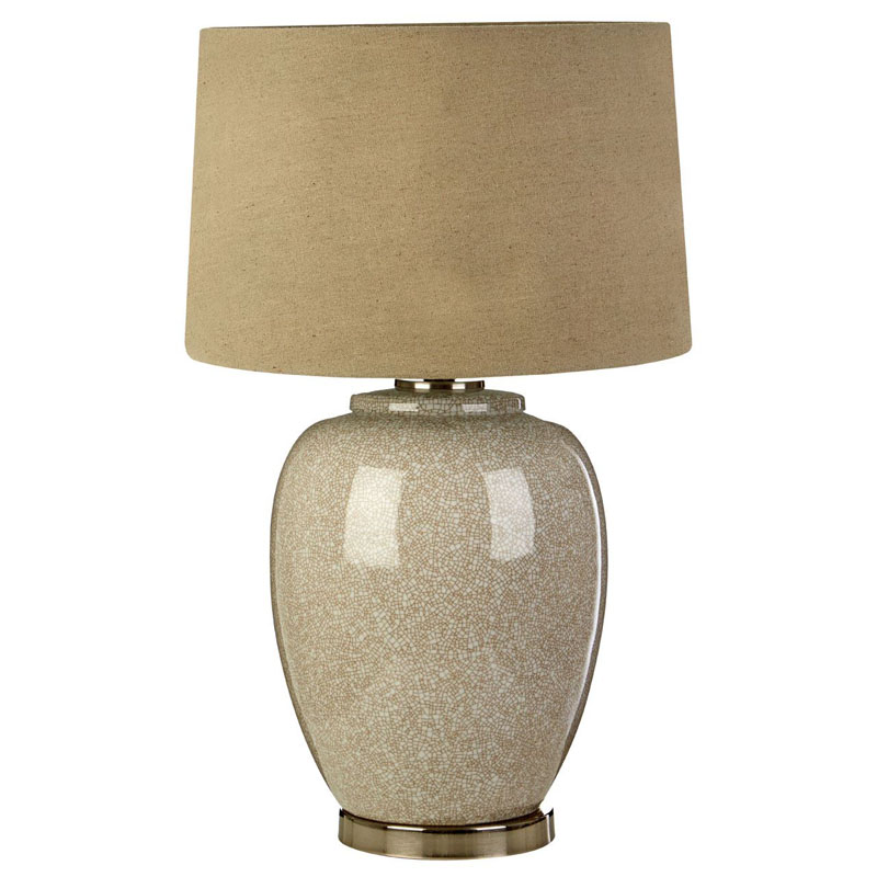 Anora Ceramic Table Lamp & Nickel With Natural Linen Shade