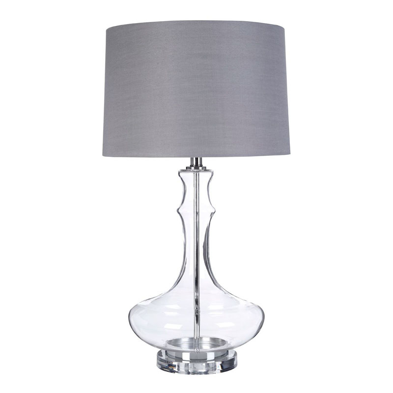 Areli Clear Glass Table Lamp & Metal Base With Silver Silk Shade