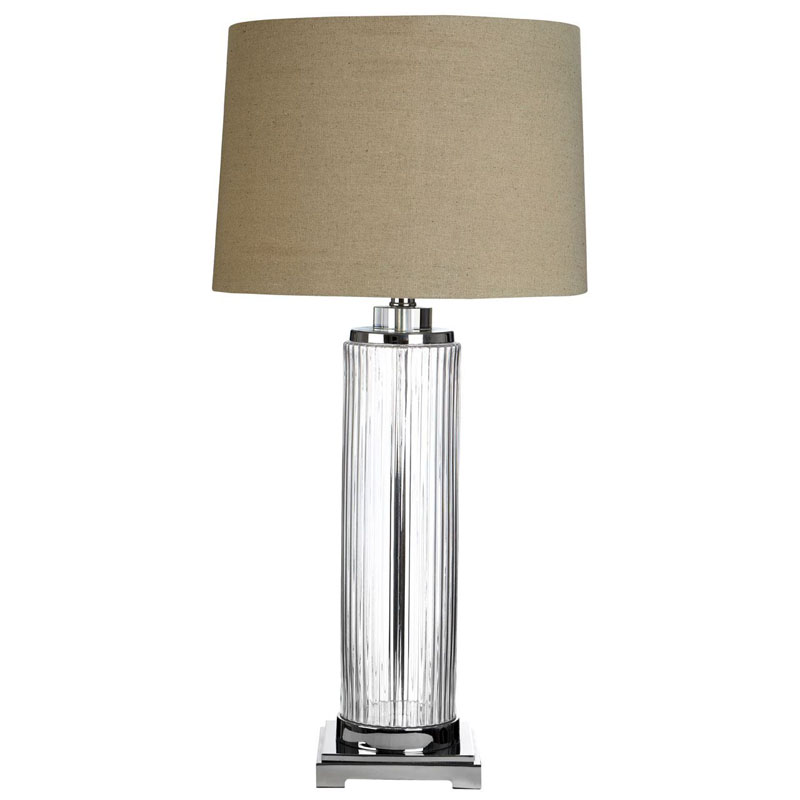 Alona Clear Glass Table Lamp With Linen Shade