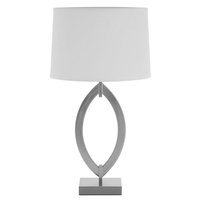 Lina Satin Nickel Table Lamp With Fabric Shade (UK Plug)
