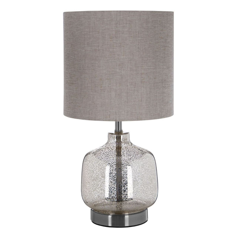 Lucia Glass & Metal Table Lamp With Natural Fabric Shade