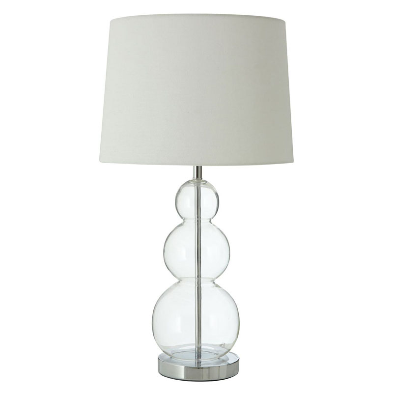 Luke Table Lamp, Glass Ball / Metal, Fabric Shade / Uk Plug