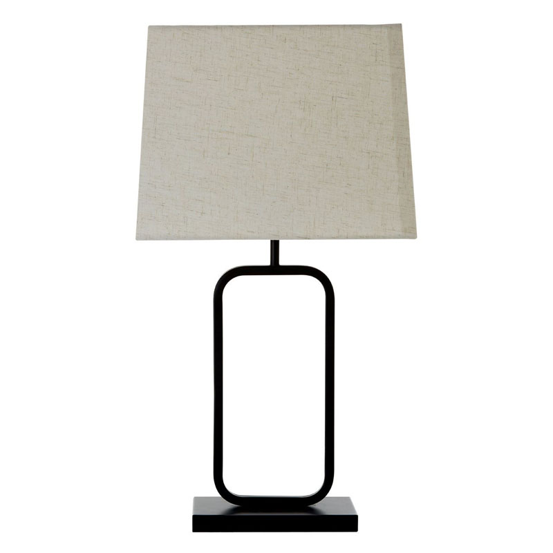 Lucas Table Lamp, Black Metal, Fabric Shade / Uk Plug