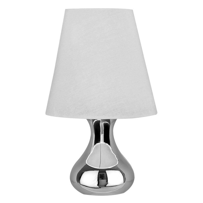 Nell Silver Chrome Table Lamp With White Fabric Shade (UK Plug)