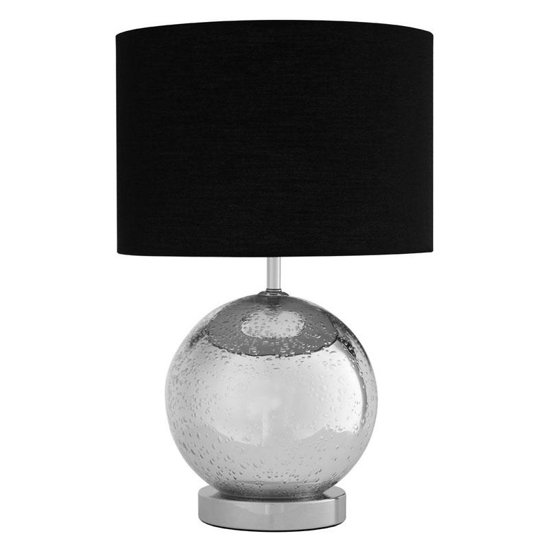 Naomi Chrome/Glass Table Lamp With Black Fabric Shade (UK Plug)