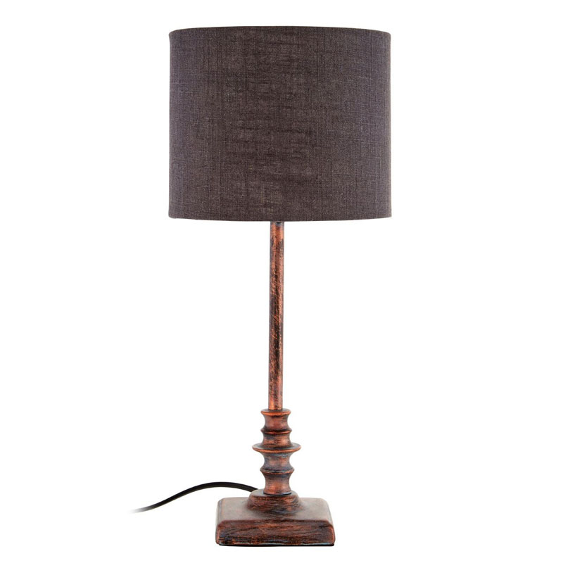 Adele Table Lamp, Metal Base / Fabric Shade, Distressed Copper / Dark Grey