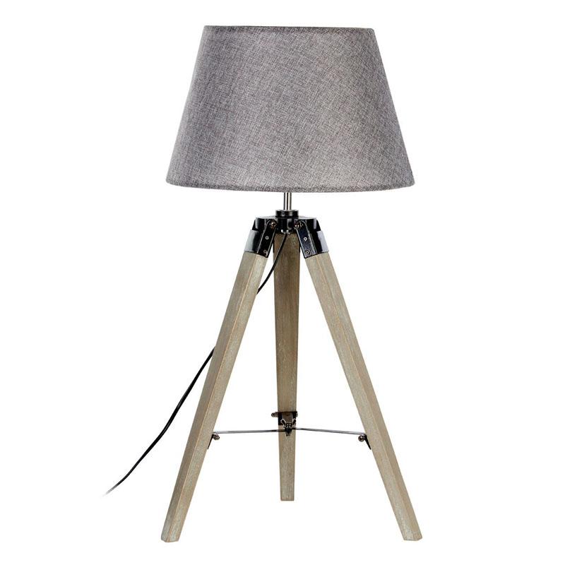 Harper Table Lamp, Grey Wood Tripod, Grey Shade / Uk Plug