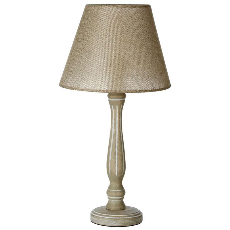 Maine Vintage Table Lamp, Wooden Candlestick Base, Beige Shade / Uk Plug