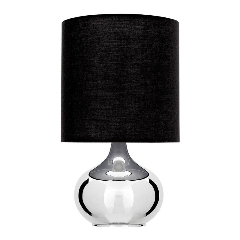 Niko Table Lamp, Chrome, Black Fabric Shade