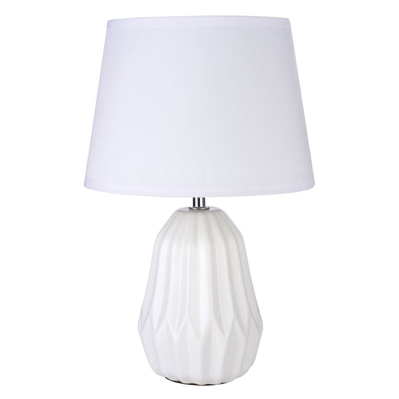 Winslet White Ceramic Table Lamp With White Fabric Empire Shade