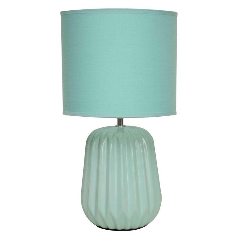 Winola Ceramic Table Lamp And Turquoise Fabric Shade