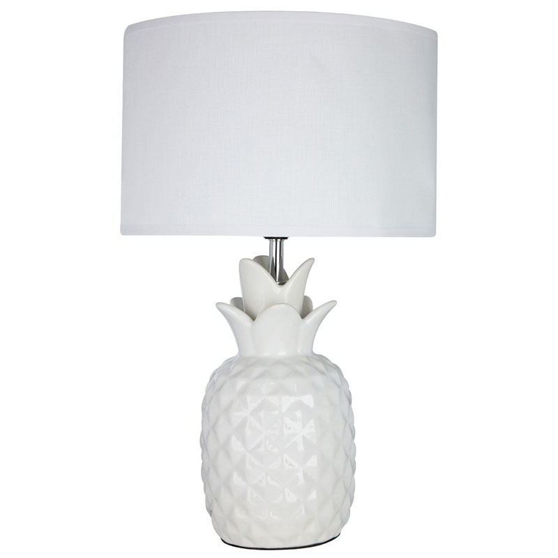 Beautiful Pineapple White Ceramic Table Lamp With White Fabric Shade