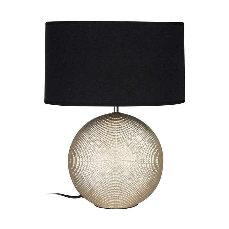 Whisper Gold Ceramic Table Lamp With Black Fabric Drum Shade