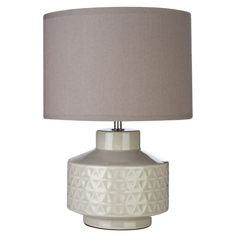 Waverly Table Lamp & Grey Ceramic Base With Grey Fabric Shade