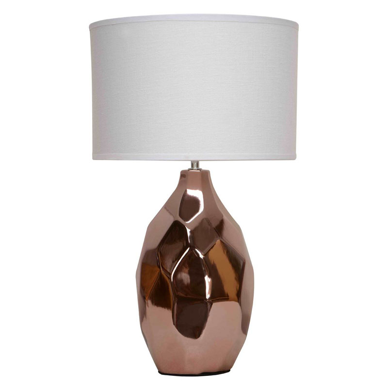 West Copper Ceramic Table Lamp With Ivory Fabric Shade
