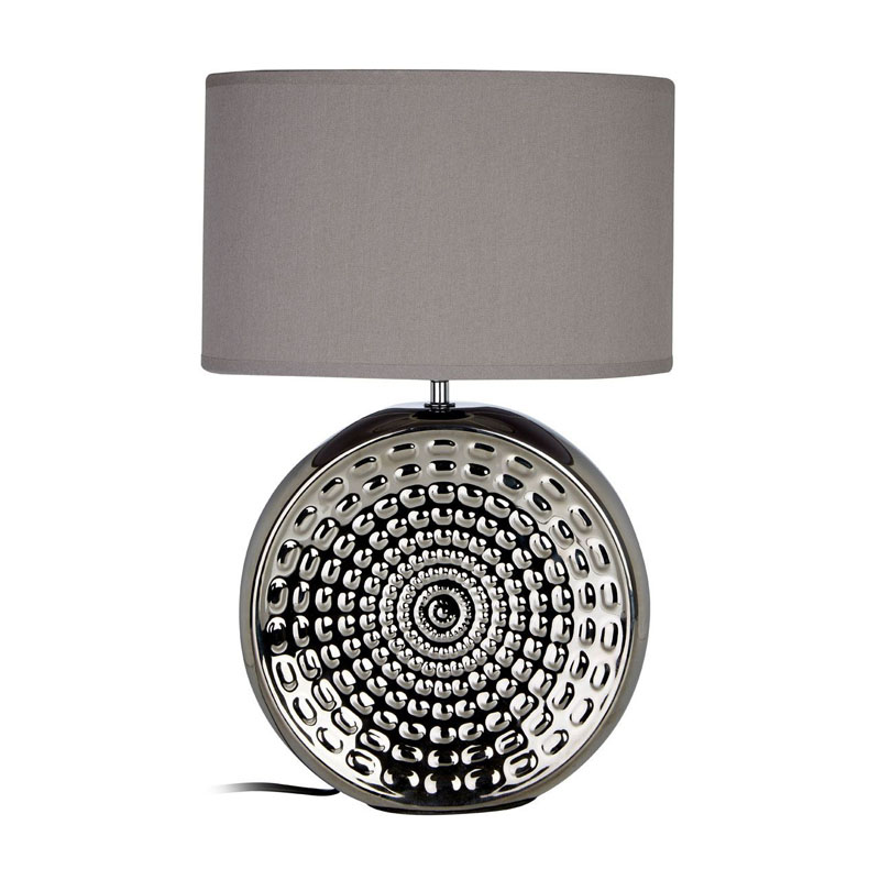 Win Silver Ceramic Vase Shape Table Lamp With Grey Fabric Shade