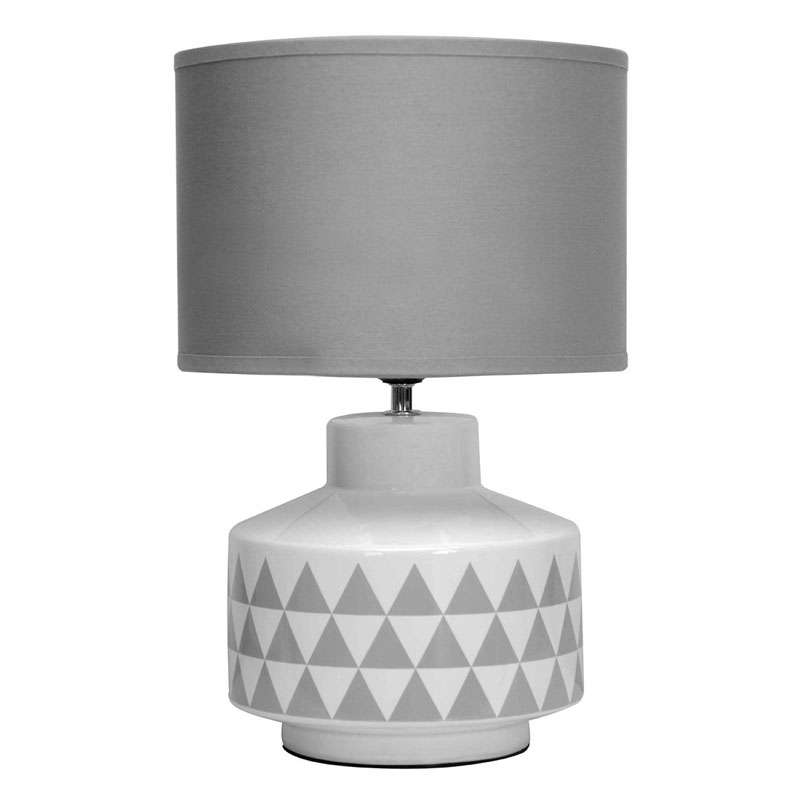 Wylie Table Lamp, White Ceramic, Grey Fabric Shade