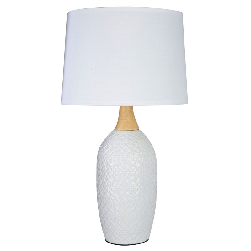 Willow Table Lamp, White Ceramic, White Fabric Shade