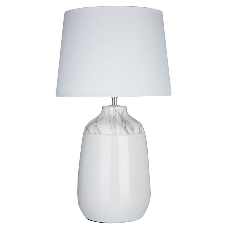 Wenita Table Lamp, White Ceramic, White Fabric Shade