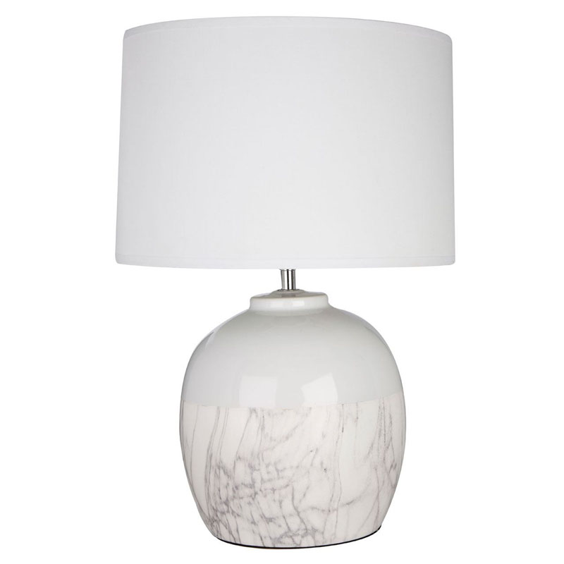 Whitley Table Lamp, White Ceramic, White Fabric Shade