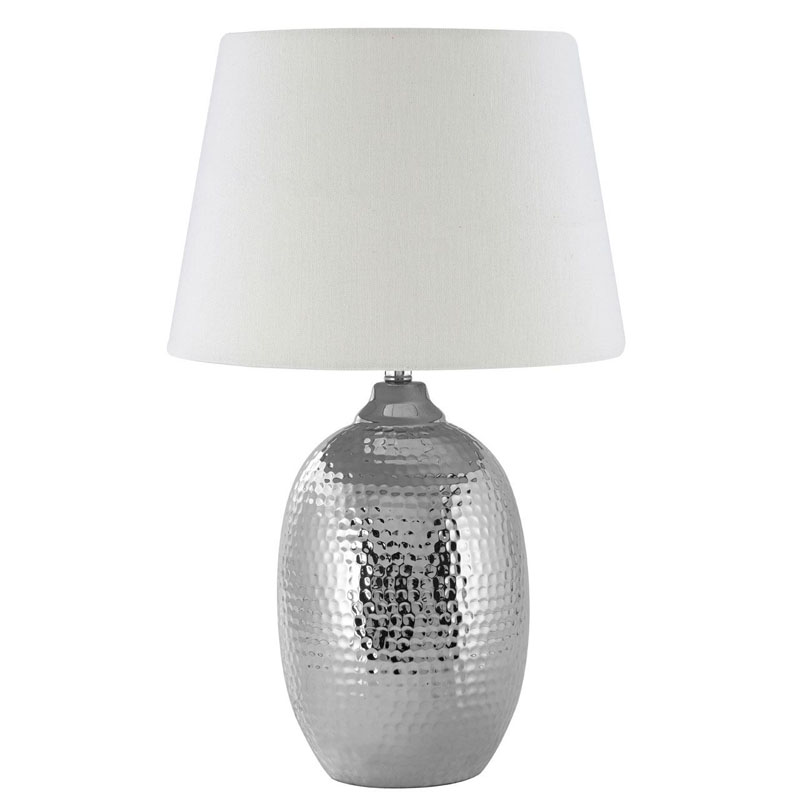 Jane Table Lamp, Chrome Hammered Ceramic, Ivory Shade