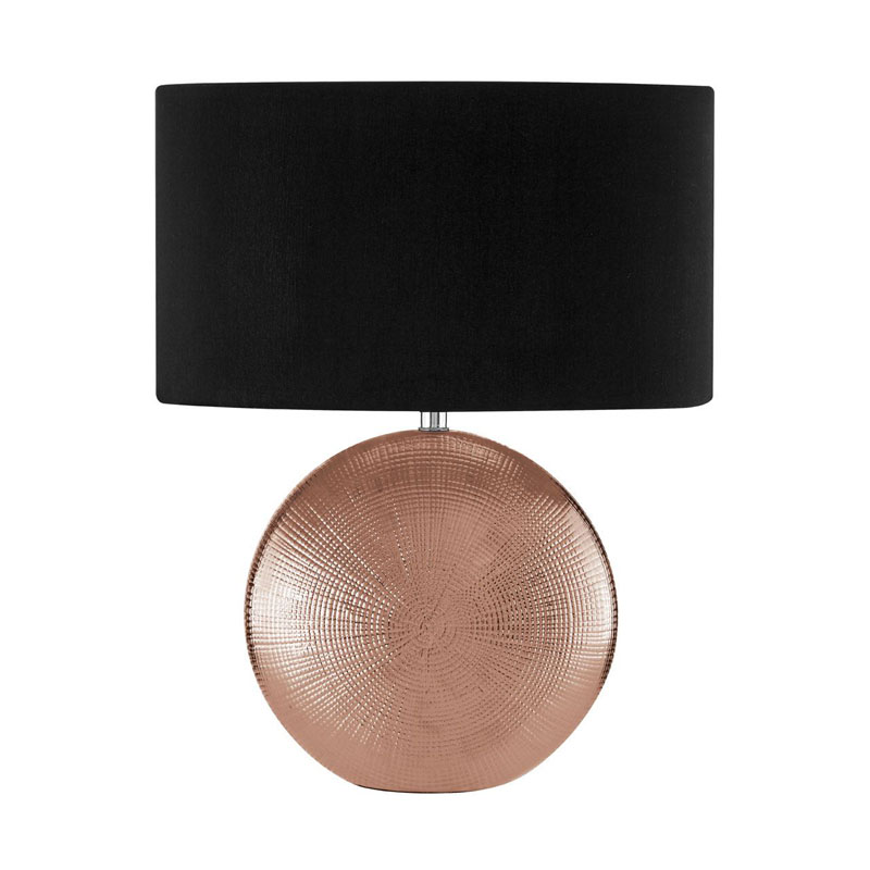 Jasmin Copper Ceramic Table Lamp WIth Black Fabric Drum Shade