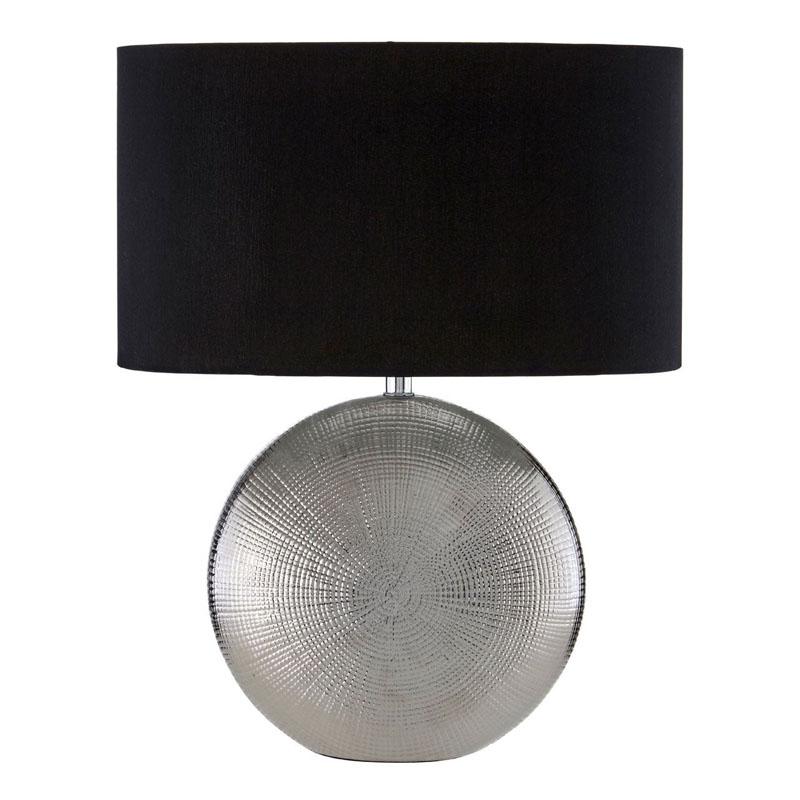 Jasmin SIlver Ceramic Table Lamp And Black Fabric Drum Shade