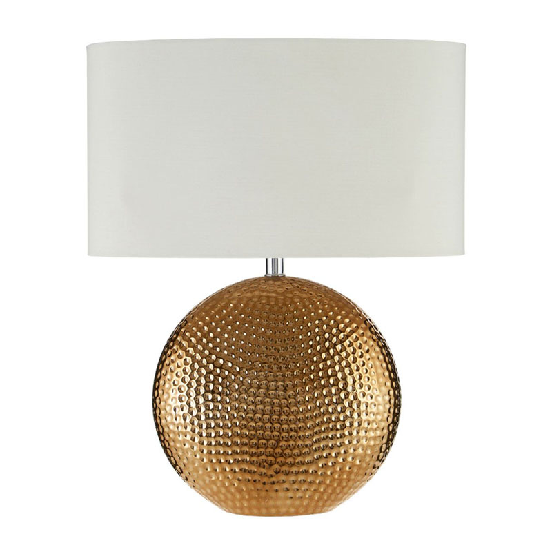 Joshua  Bronze Ceramic Table Lamp And Ivory Fabric Shade