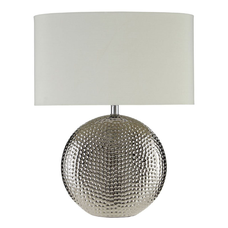 Joshua Table Lamp, Silver Ceramic, Ivory Shade