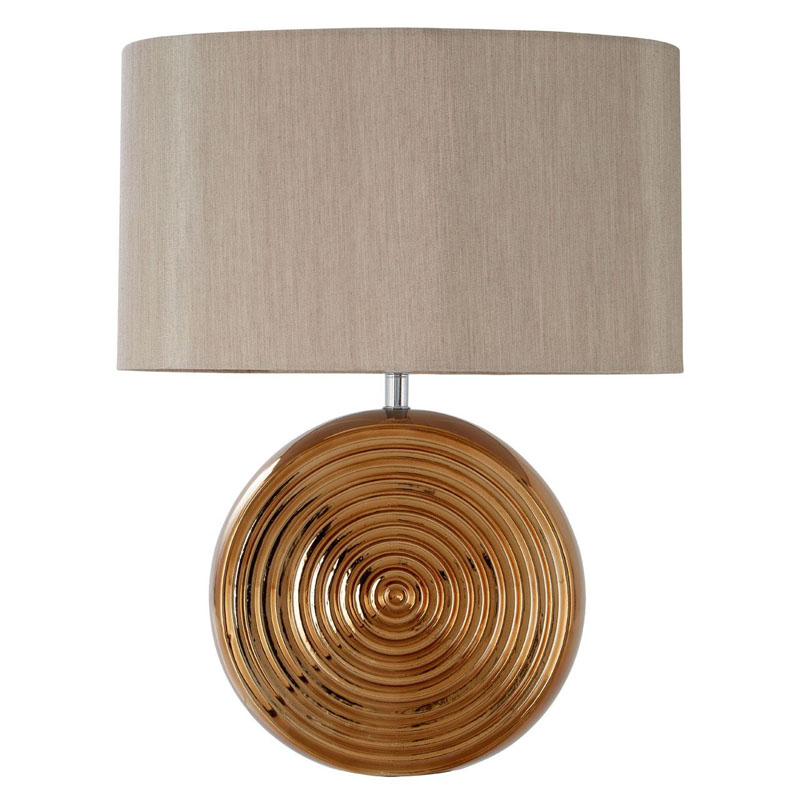 Jessica Bronze Ceramic Table Lamp With Natural Shade