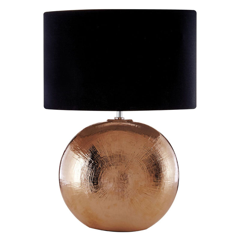 Jarvis Scratched Copper Ceramic Table Lamp With Black Shade