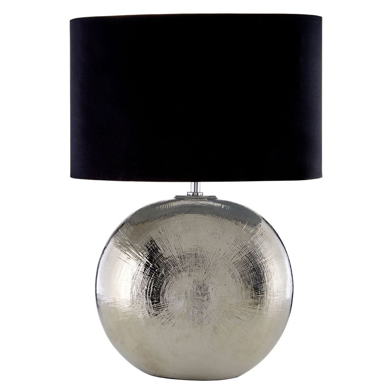 Jarvis Scratched Silver Ceramic Table Lamp With Black Shade
