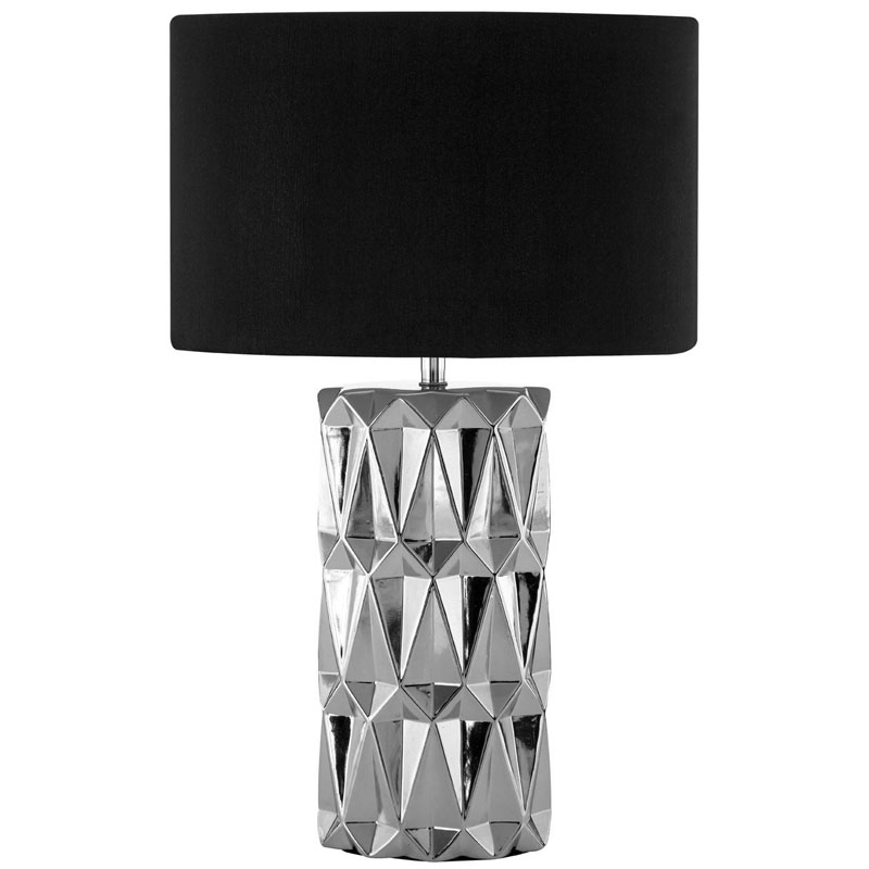Jaxon Silver Ceramic Table Lamp With Black Fabric Drum Shade