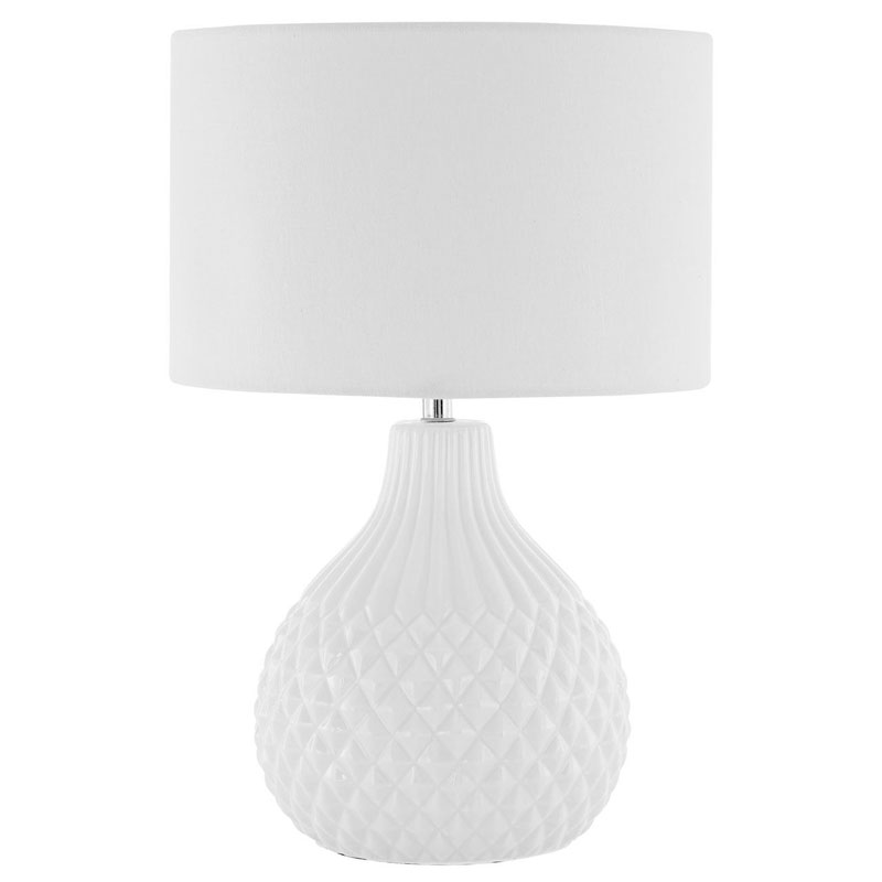 Jax White Ceramic Table Lamp And Ivory Drum Shade