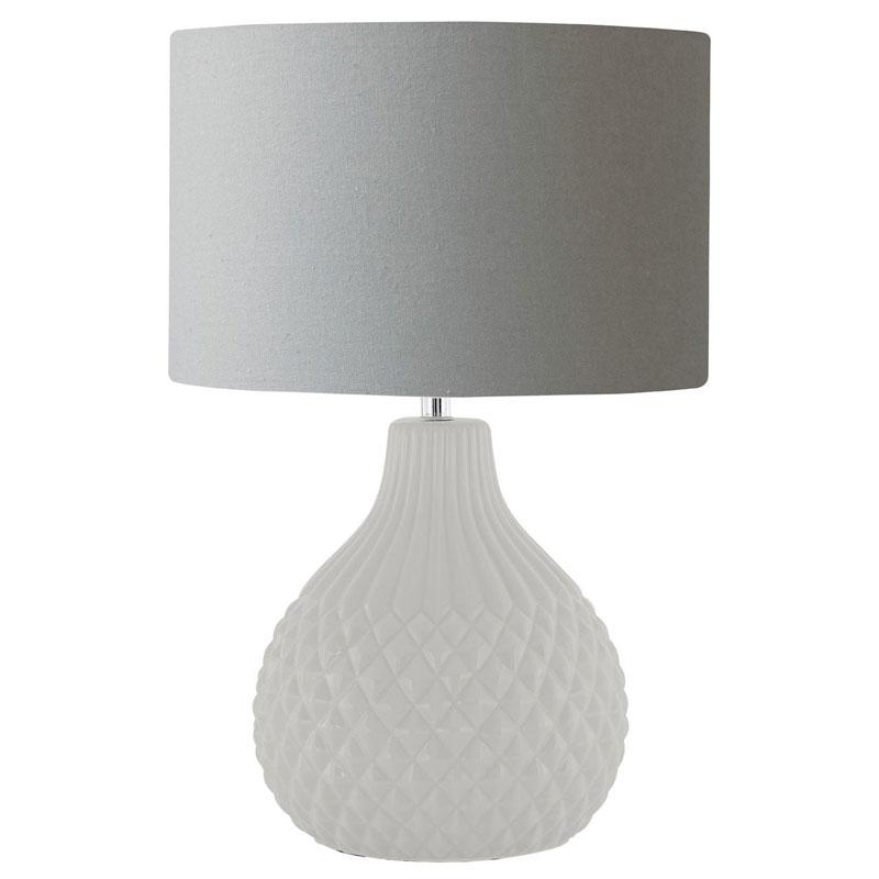 Jax Table Lamp, Grey Ceramic, Grey Shade