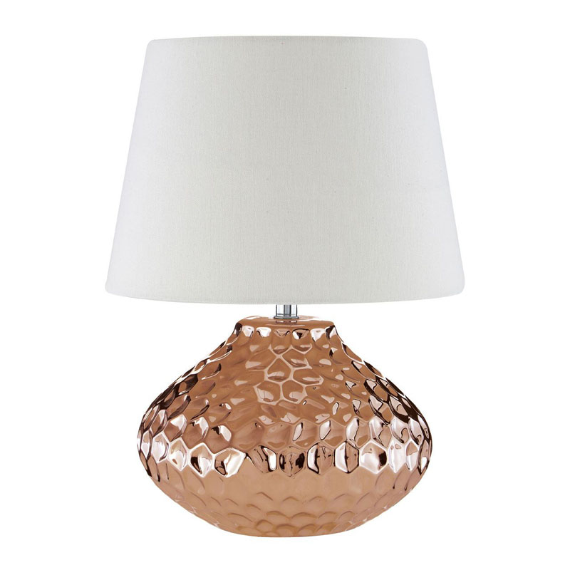 Jen Copper Ceramic Table Lamp With Ivory Shade