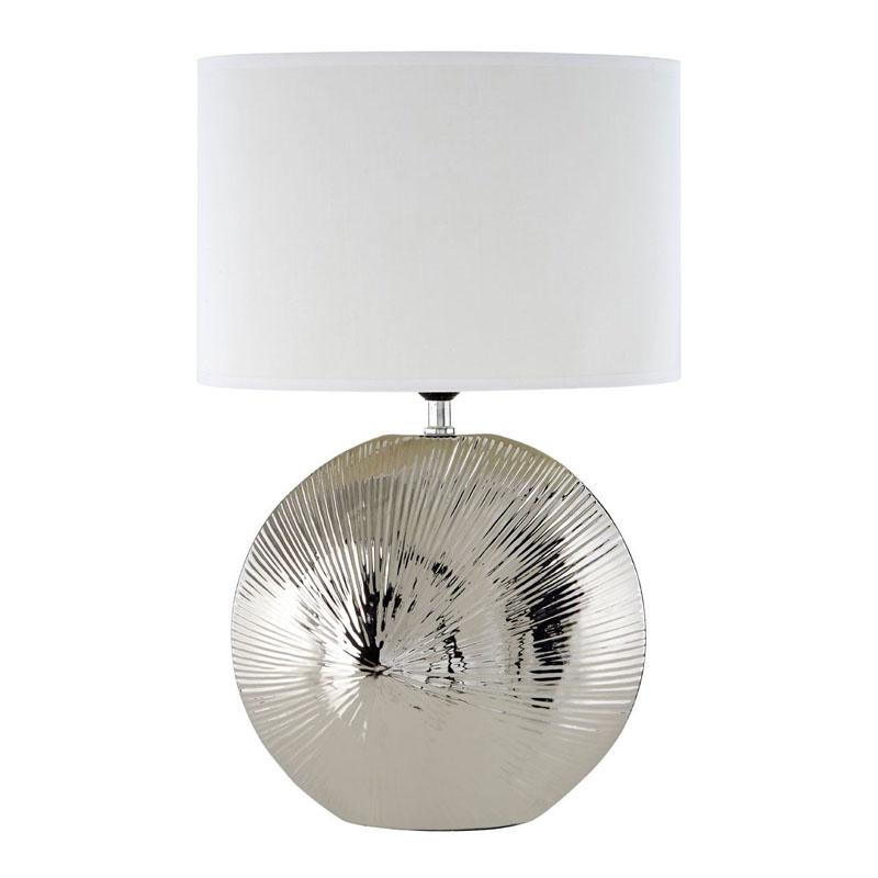 Hattie Silver Rib Shell Ceramic Table Lamp And White Shade