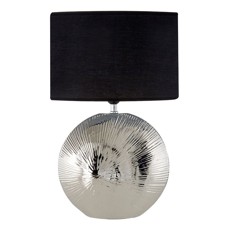 Hattie Silver Rib Shell Ceramic Table Lamp And Black Shade