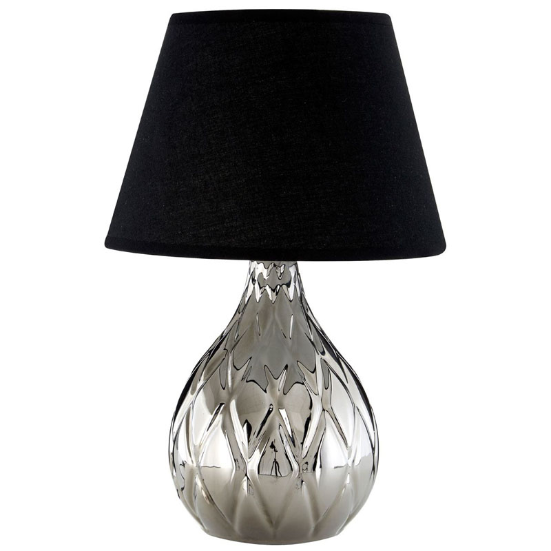 Hannah Silver Ceramic Table Lamp And Diamond Detail With Black Shade