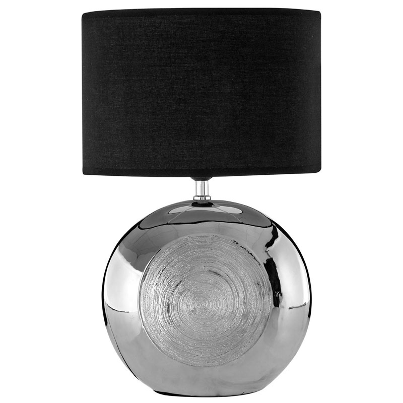Holly Ceramic Table Lamp & Silver Scratch Detail With Black Shade