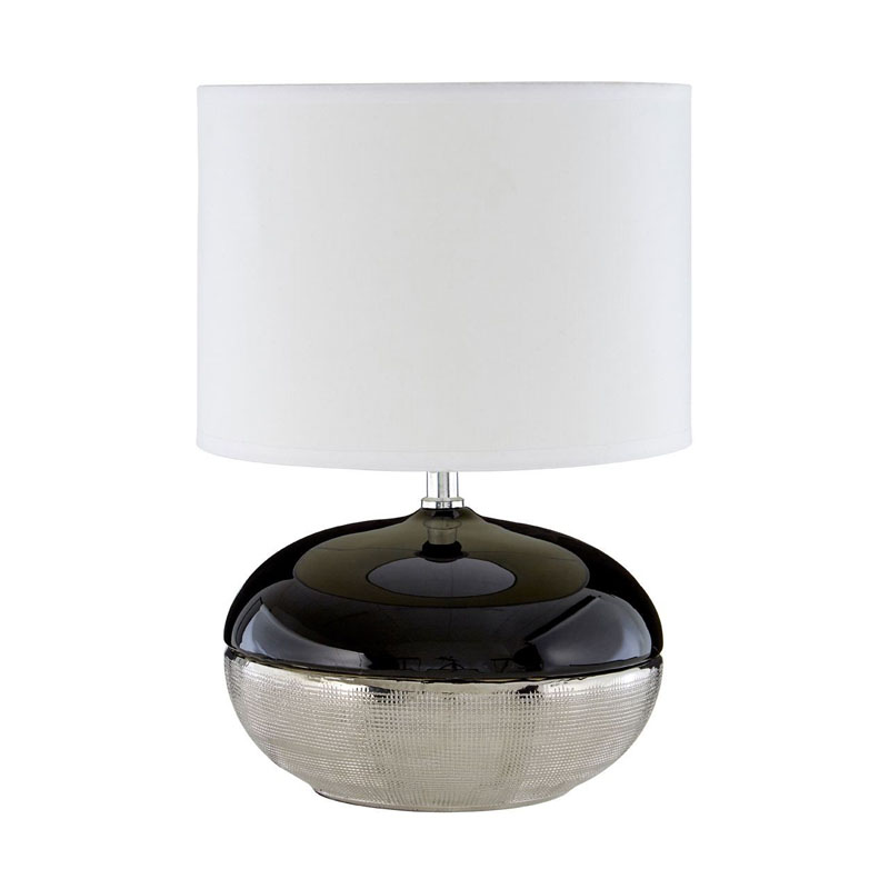 Honey Silver & Black Ceramic Table Lamp With White Shade